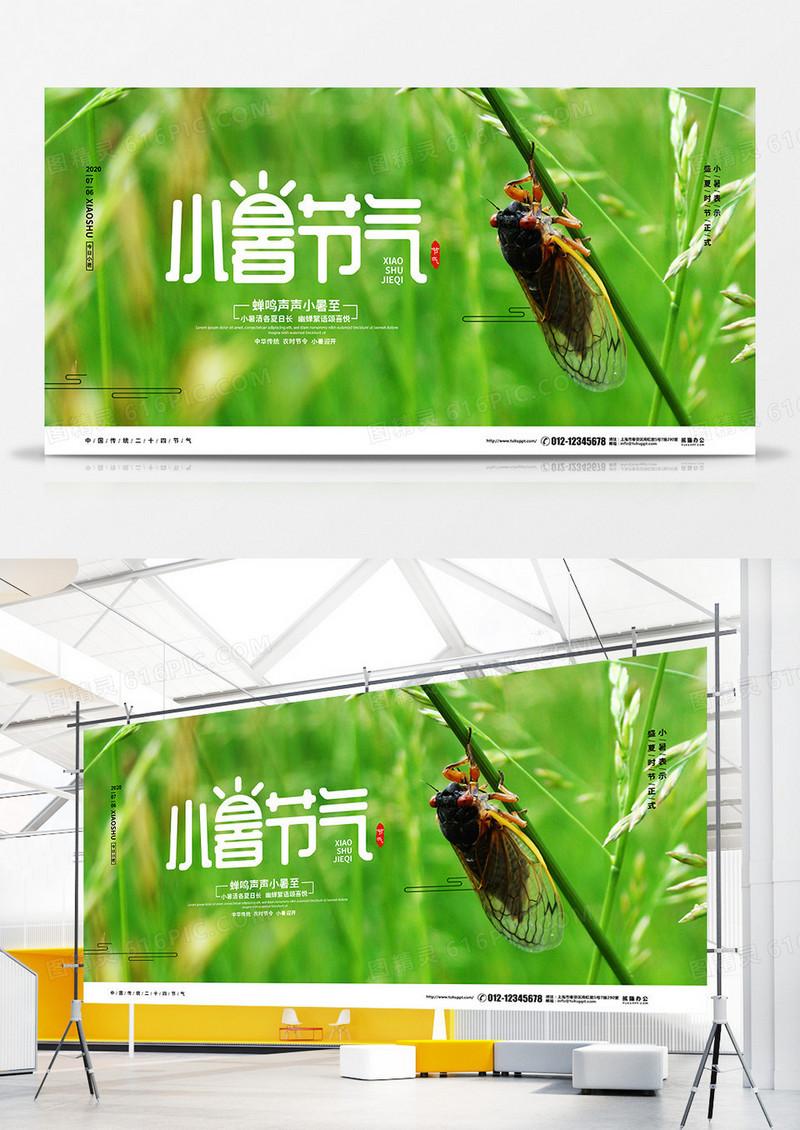 绿色简约二十四节气小暑宣传展板设计