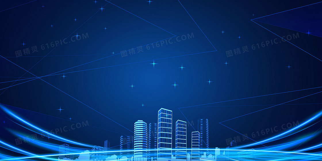 蓝色科技城市简约光效背景