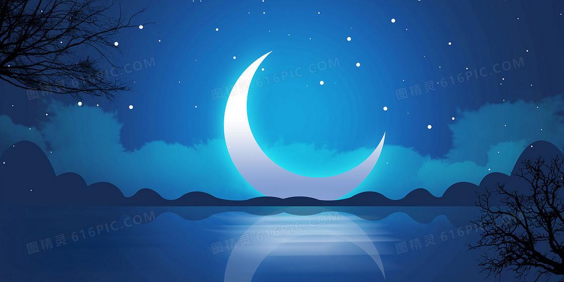寂静夜晚星空弯月背景