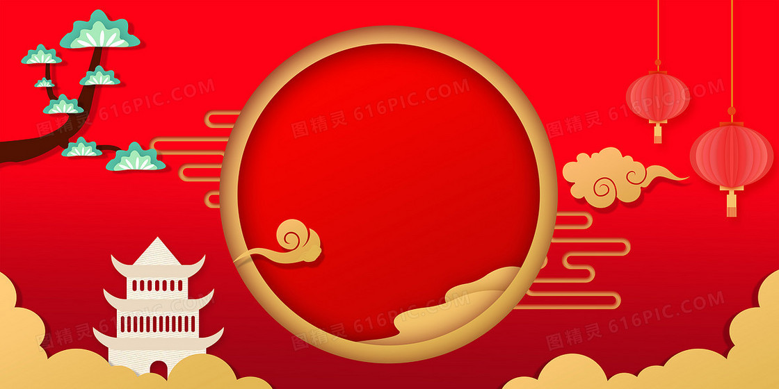 红色喜庆新年剪纸风2020鼠年背景