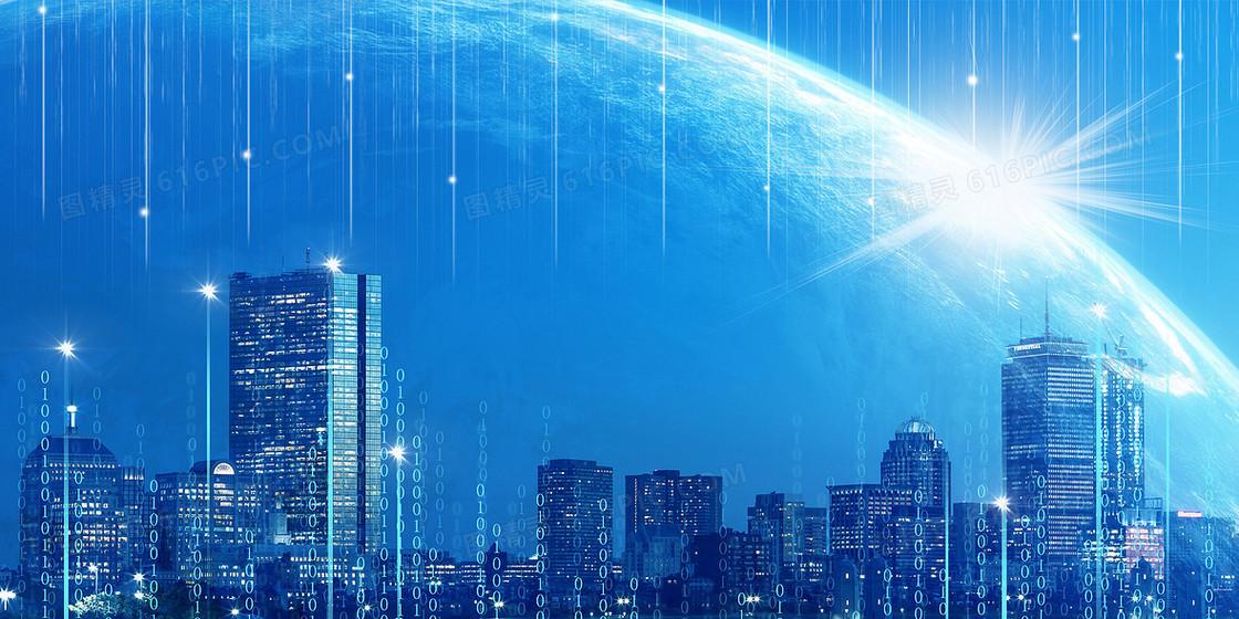 科技城市地球创意合成虚拟网络科技背景