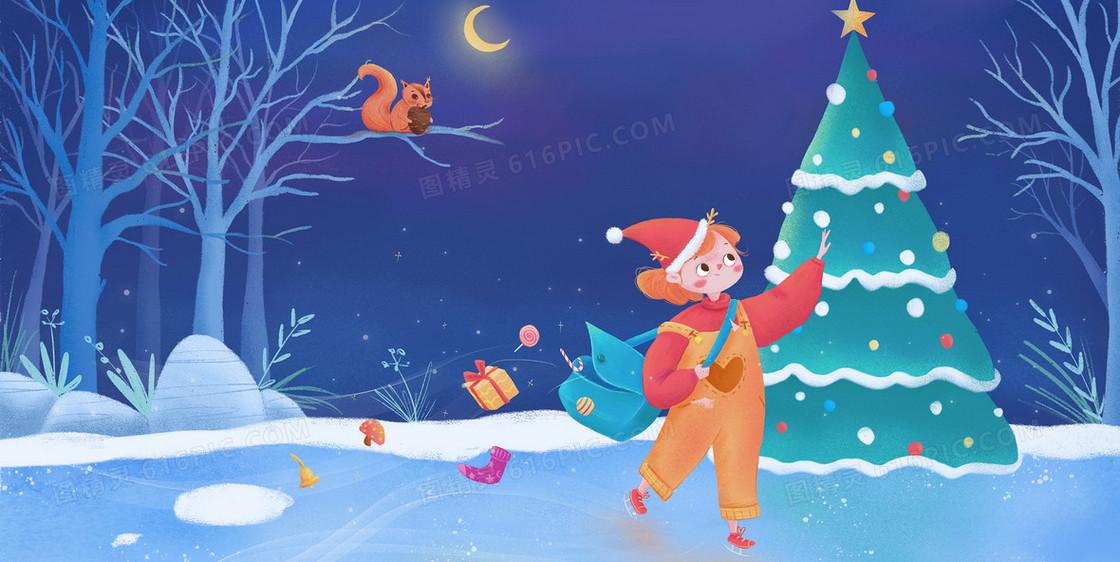 圣诞节滑雪溜冰创意儿童插画