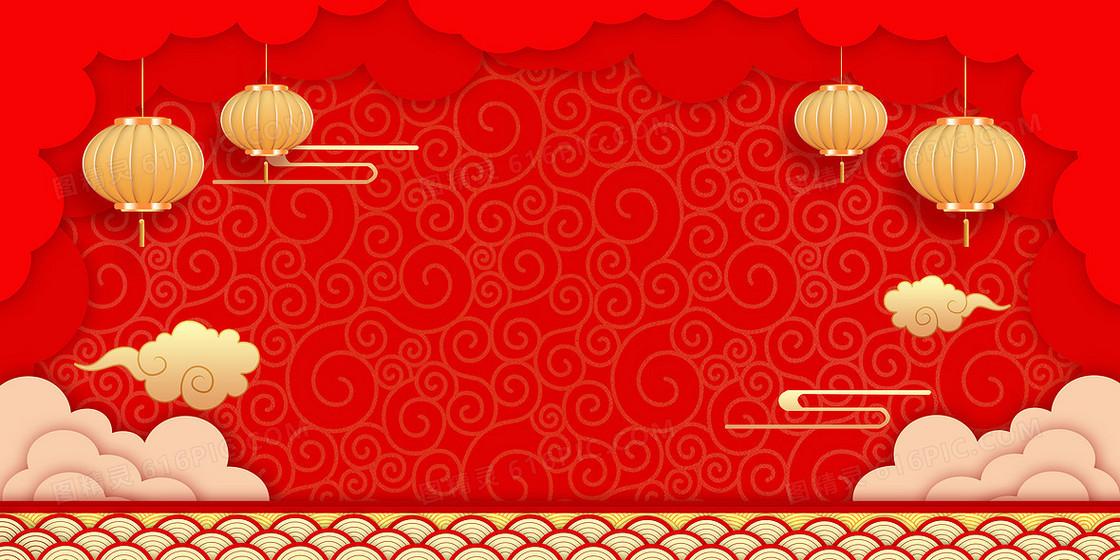 中国风剪纸风灯笼2020新年鼠年喜庆背景