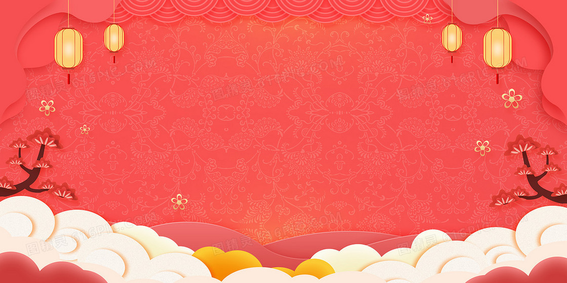 简约中国风剪纸风新年背景