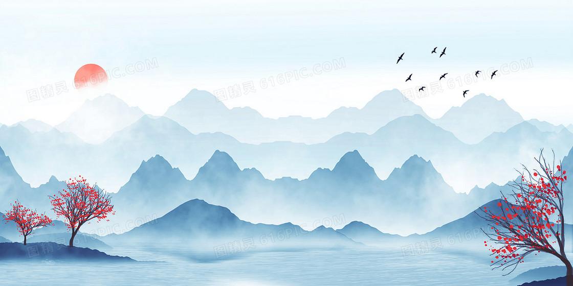 蓝色清新中国风水墨山水风景画背景