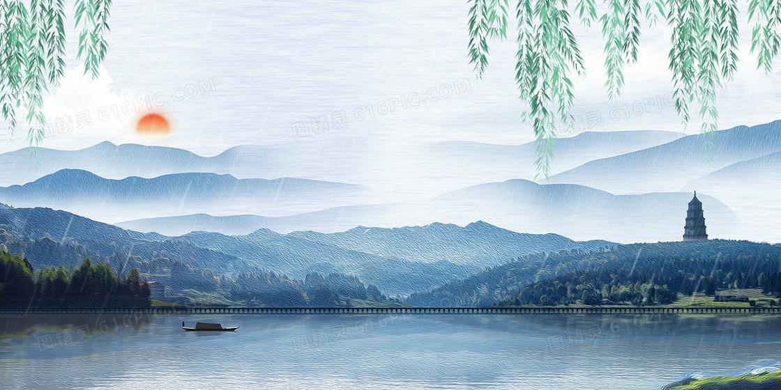 清明节摄影图合成渔船风景画背景