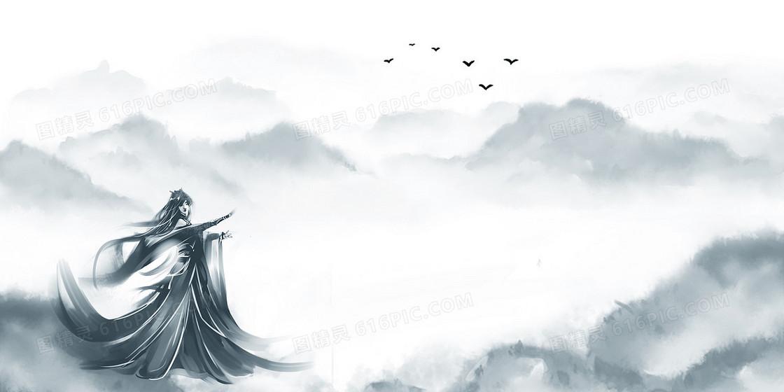 中国风水墨山水武侠背景