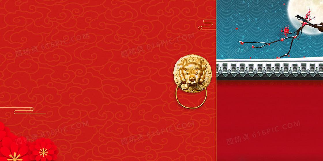 简约中国风红色古典新年背景