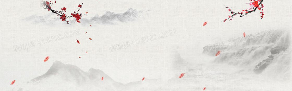 中国风梅花山水画背景banner