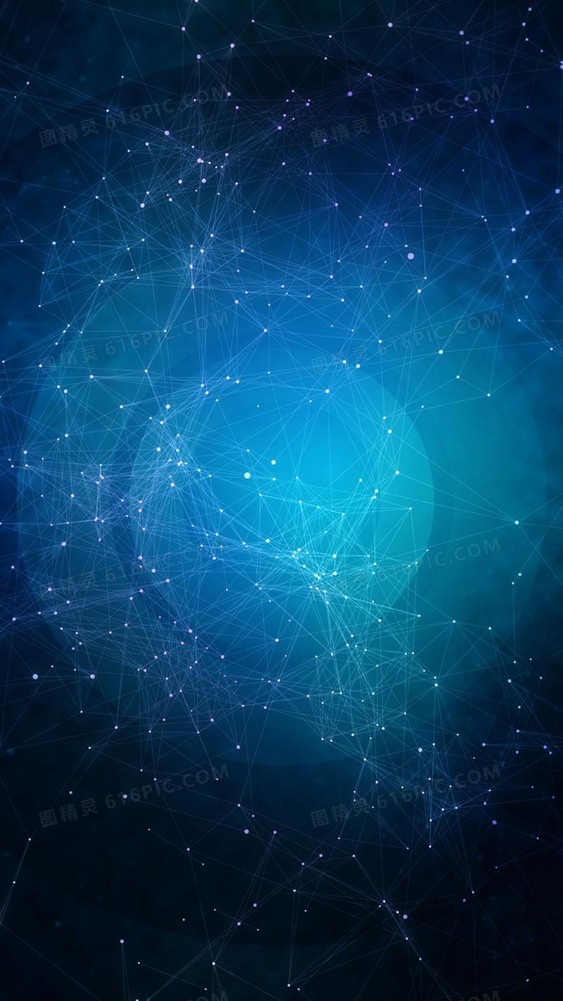 深蓝色商务科技发光矢量线H5