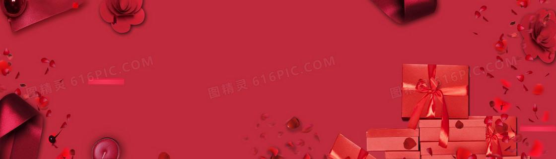 红色情人节浪漫电商海报背景