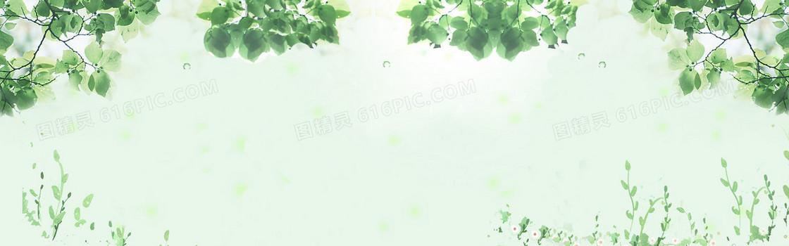 绿色清新春天背景海报