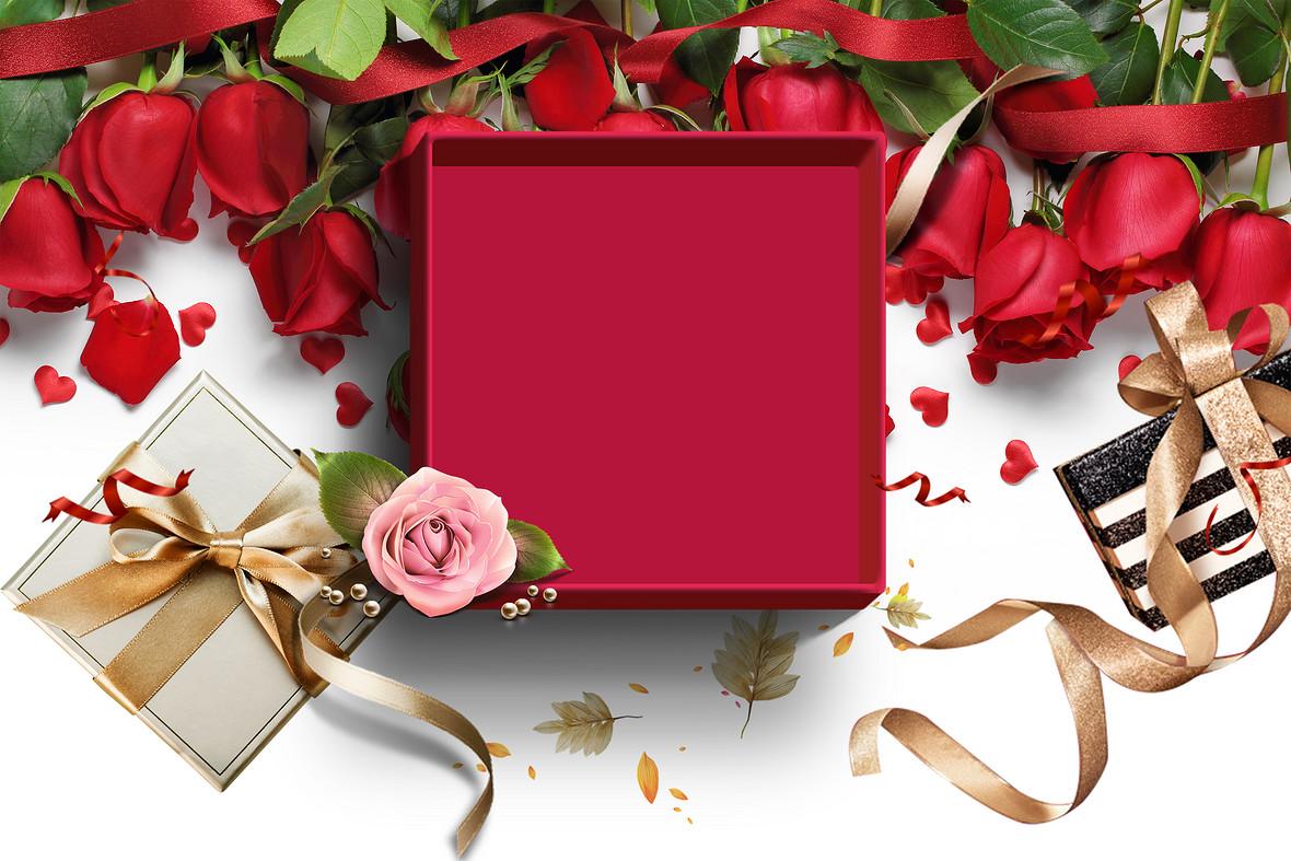 红色浪漫玫瑰花礼物情人节海报背景素材