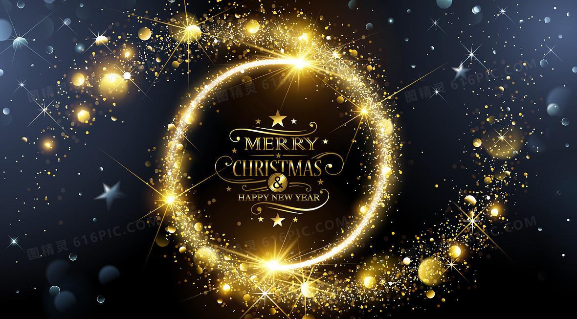圣诞节圆环金色光斑深色背景素材