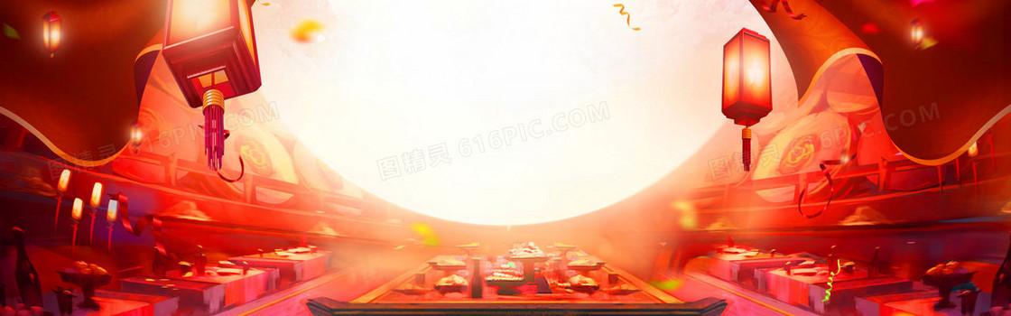 鸡年元宵节大促大气中国风红色食品海报背景