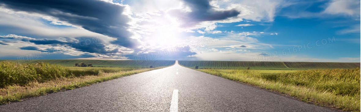 自然公路风景简约大气淘宝海报背景