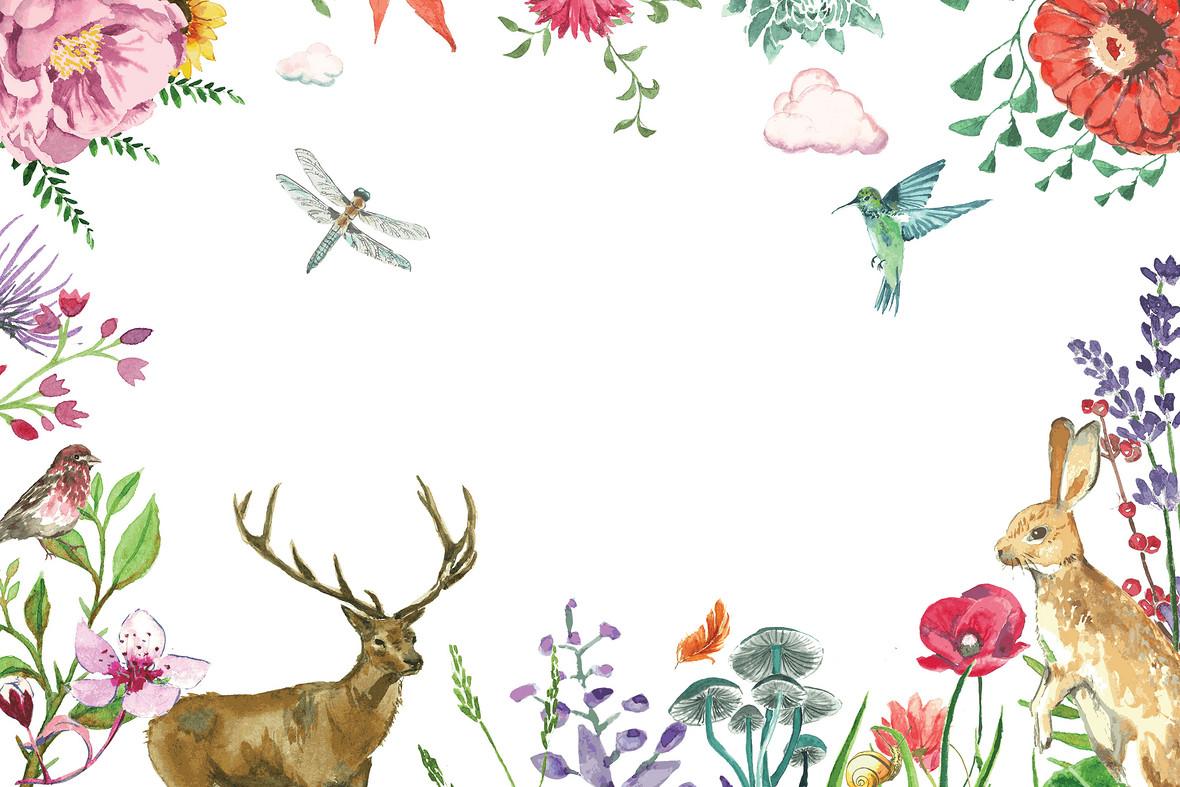 手绘淡雅水彩花卉动物卡片背景