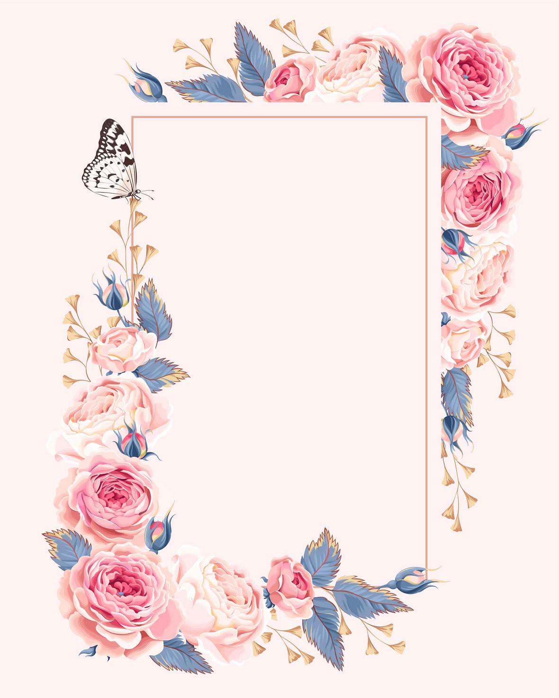 欧式婚礼庆典婚庆手绘玫瑰蝴蝶请柬海报背景