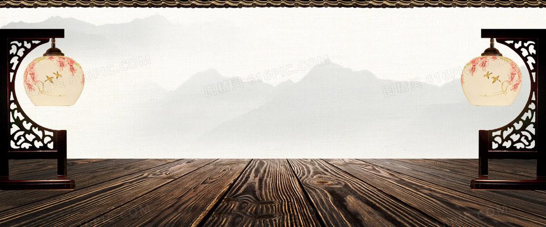 古风中国风立体木板灯笼背景