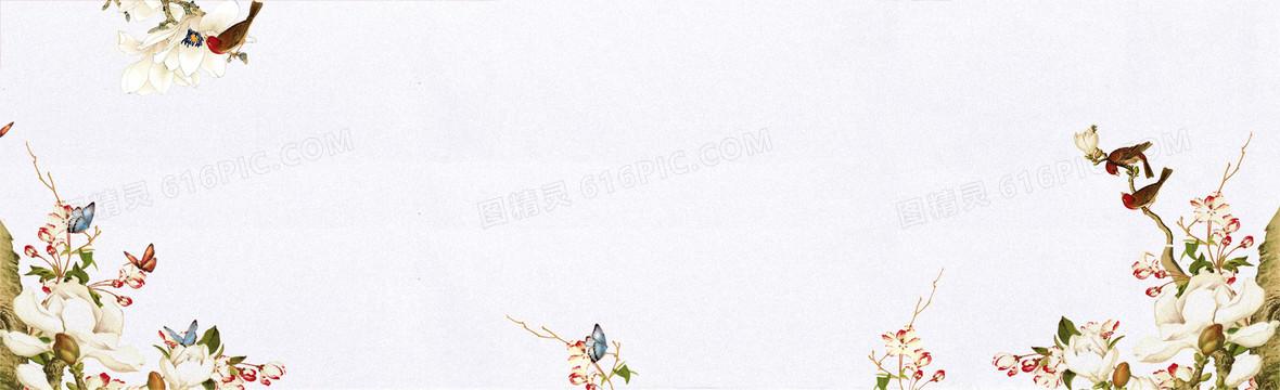 清新春季白色淘宝海报背景