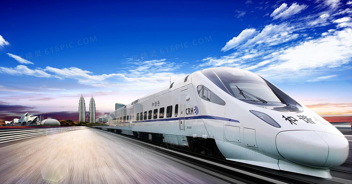 高速和谐号动车铁路春运背景素材