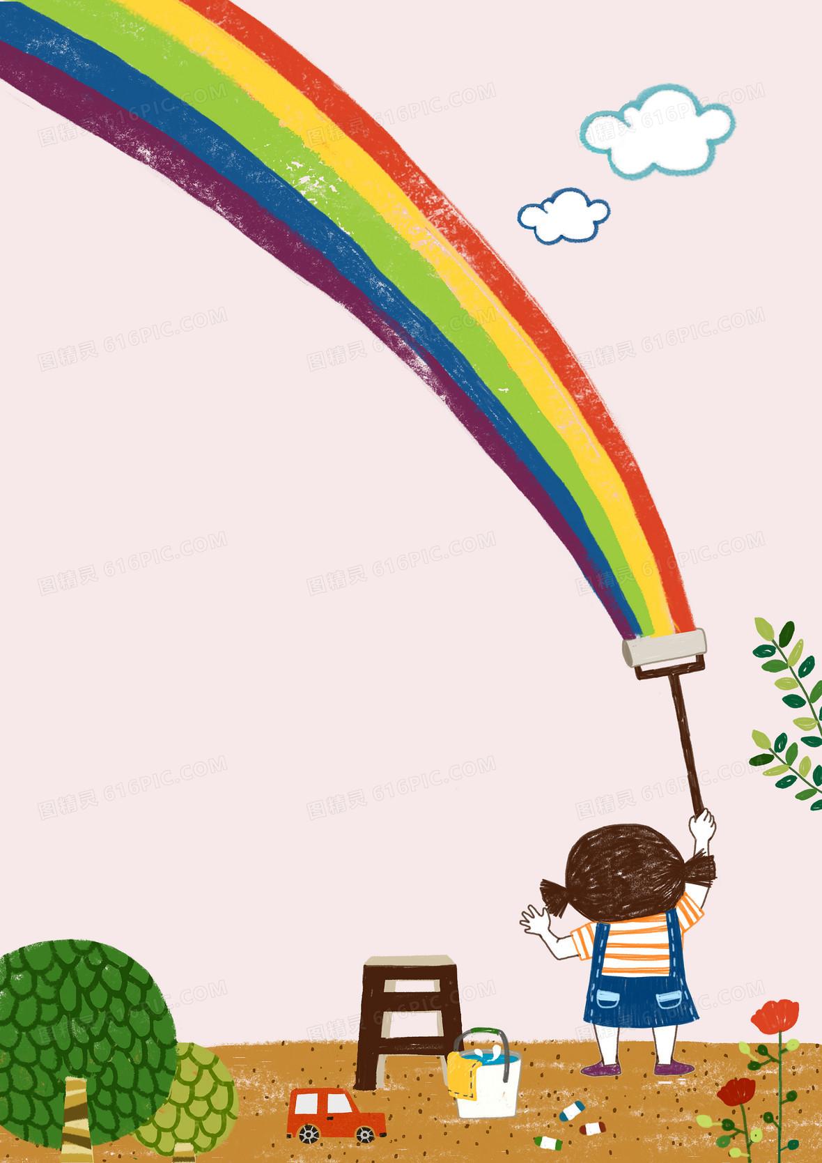 幼儿园粉色卡通小女孩海报背景