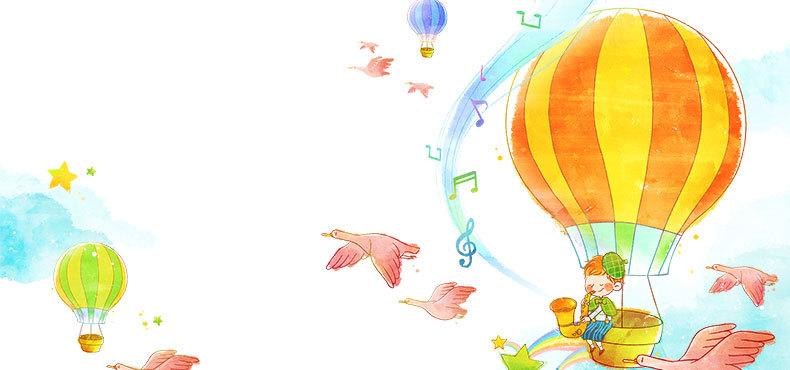 卡通清新手绘热气球背景