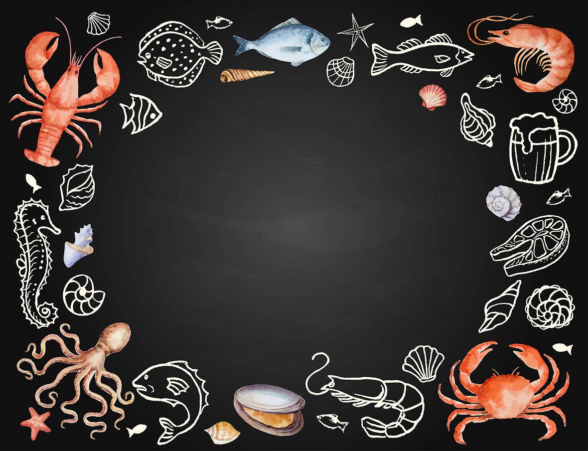 矢量黑色水彩手绘生鲜美食质感背景