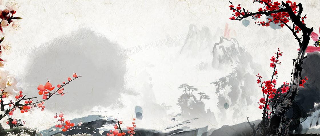 水墨梅花中国风海报