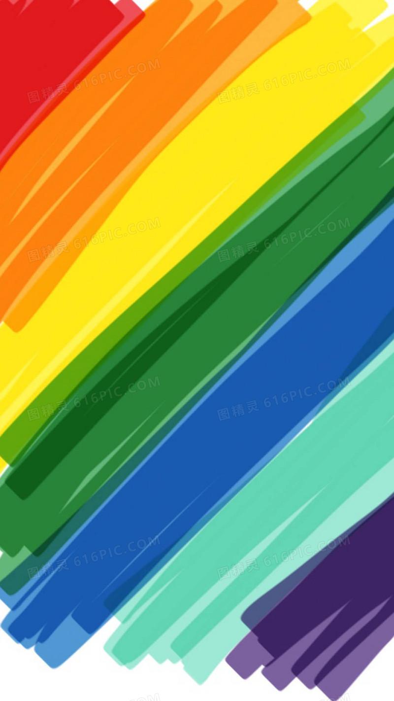 彩虹手绘线条背景