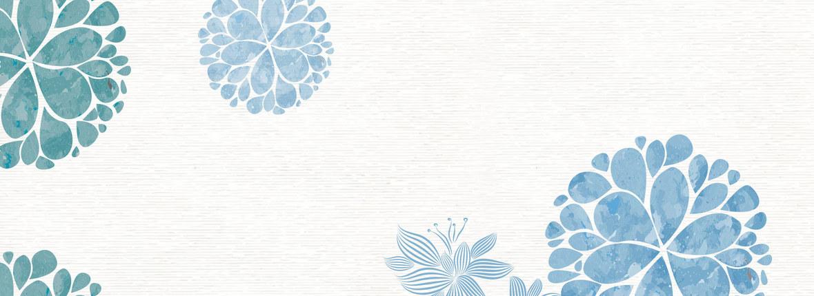 蓝色小清新文艺水彩手绘花样背景