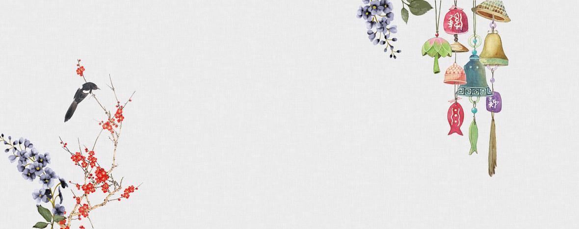 日系风铃文艺清新水彩手绘花朵淘宝女装背景