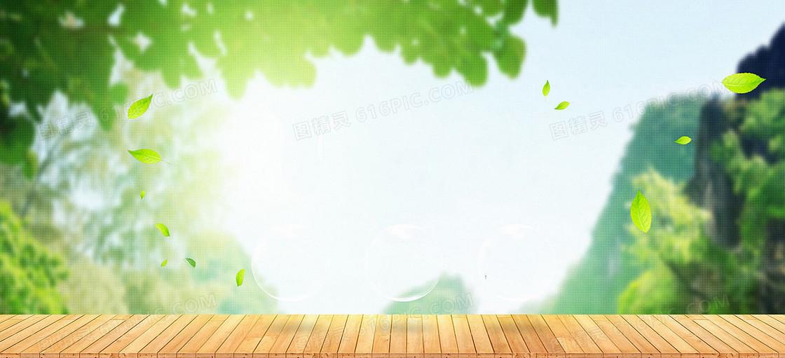 绿色植物春天阳光风景木地板日化用品背景