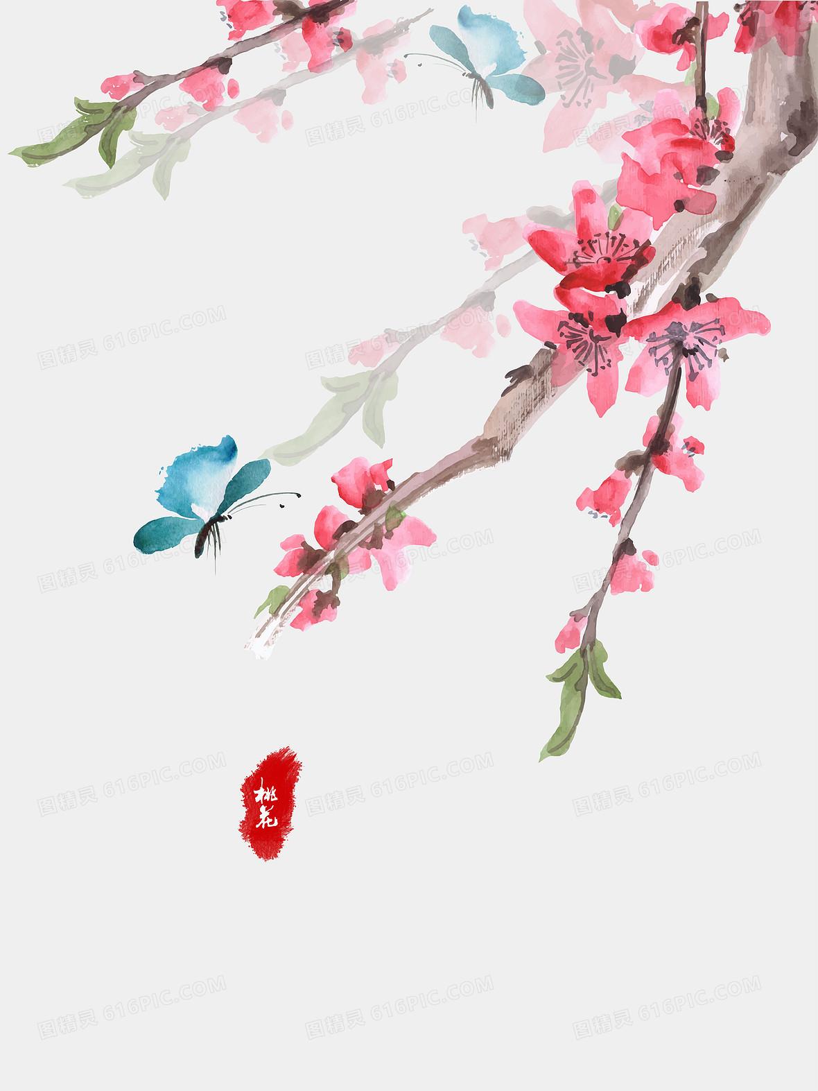 中式水墨插画温馨桃花节背景素材