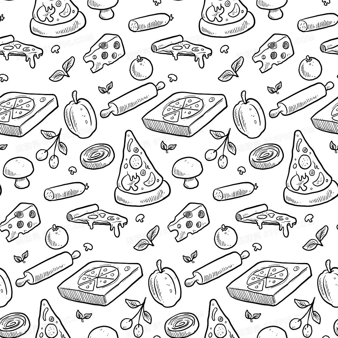 手绘披萨菜单背景模板