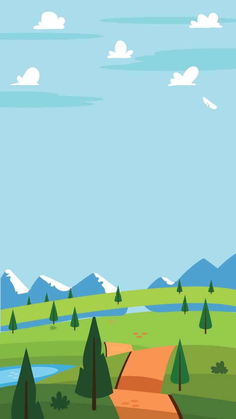 卡通蓝天白云绿草儿童帐篷背景