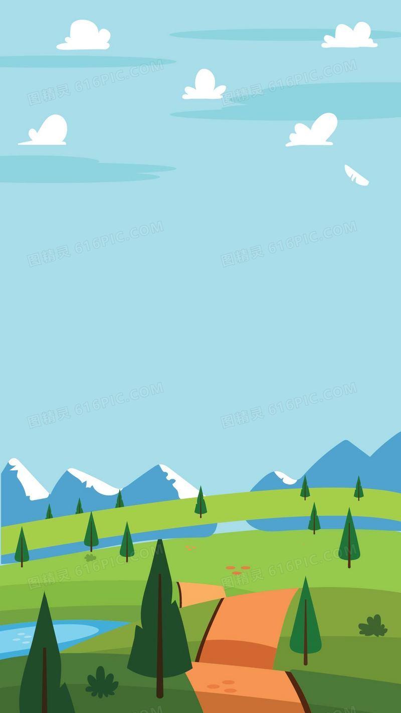 卡通蓝天白云绿地手机端apph5背景素材