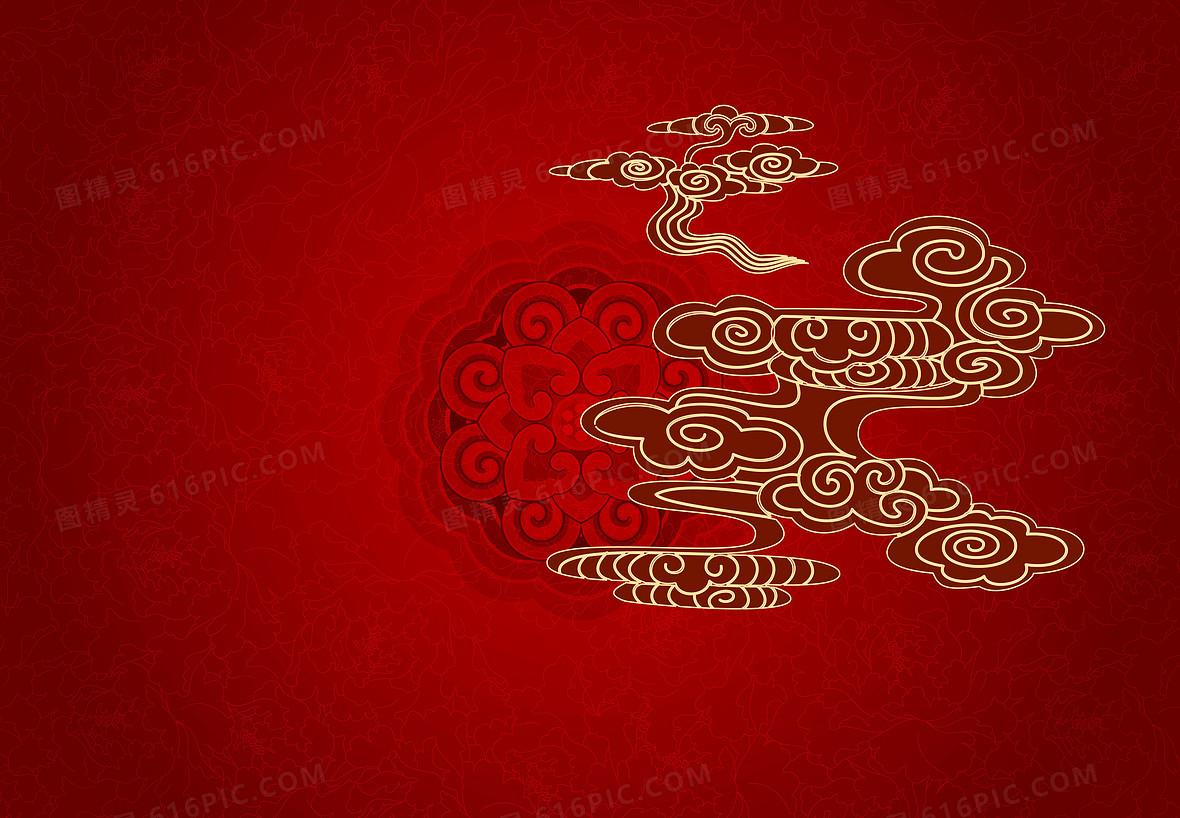 矢量红色中国风背景素材