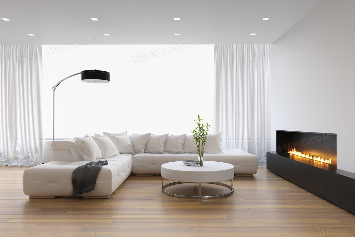 白色简约家居客厅沙发背景素材