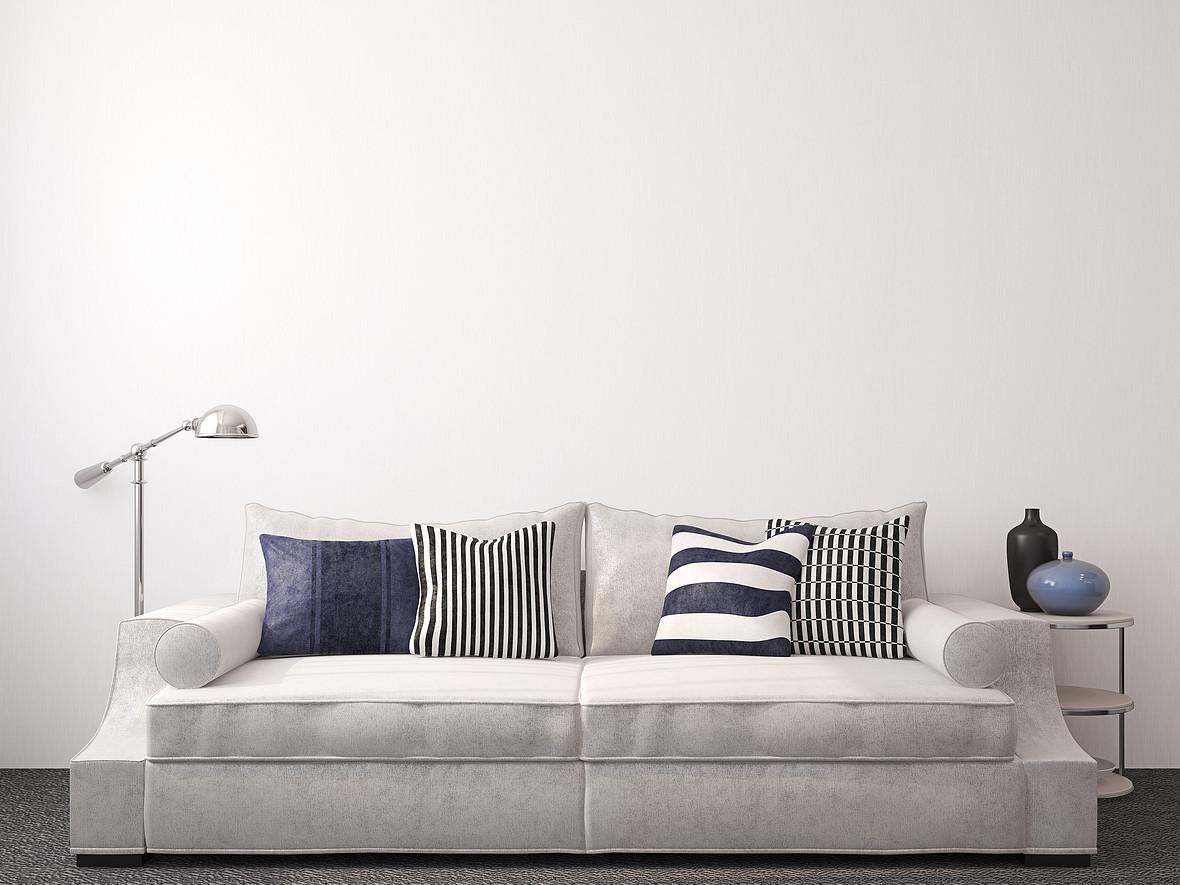 灰色简约抱枕沙发场景背景素材