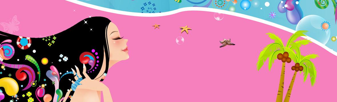 可爱卡通女孩化妆品背景图片