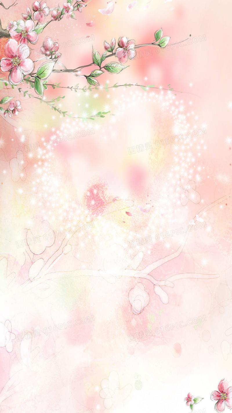 唯美手绘桃花h5背景素材