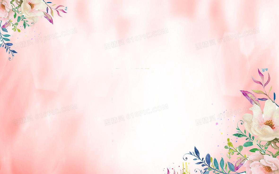 青色简约插画手绘38妇女节海报背景