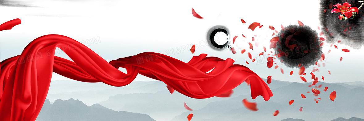 中国风舞动的红飘带海报背景素材