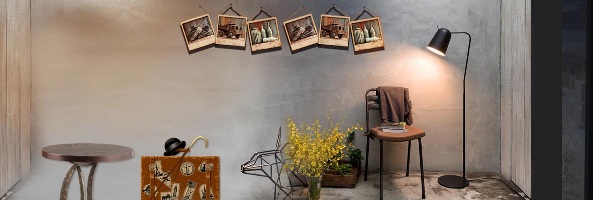 复古家居室内场景照片墙设计淘宝海报背景