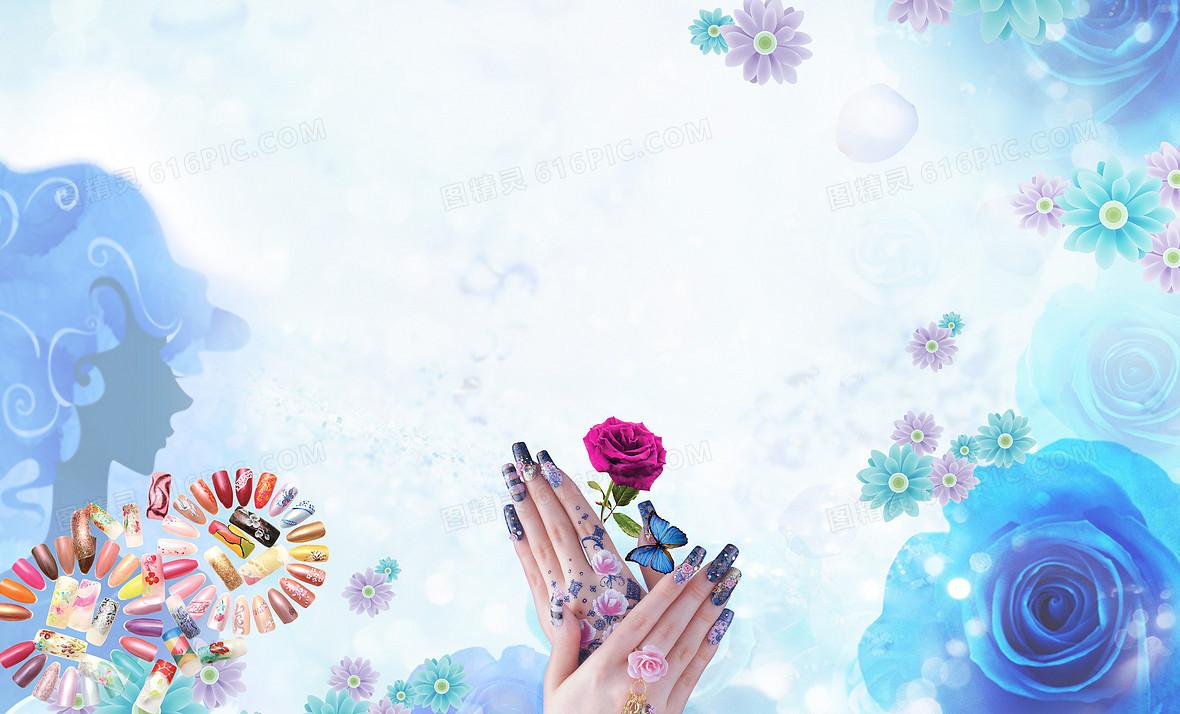 水晶甲 彩妆 纹绣 美甲店展板 背景素材