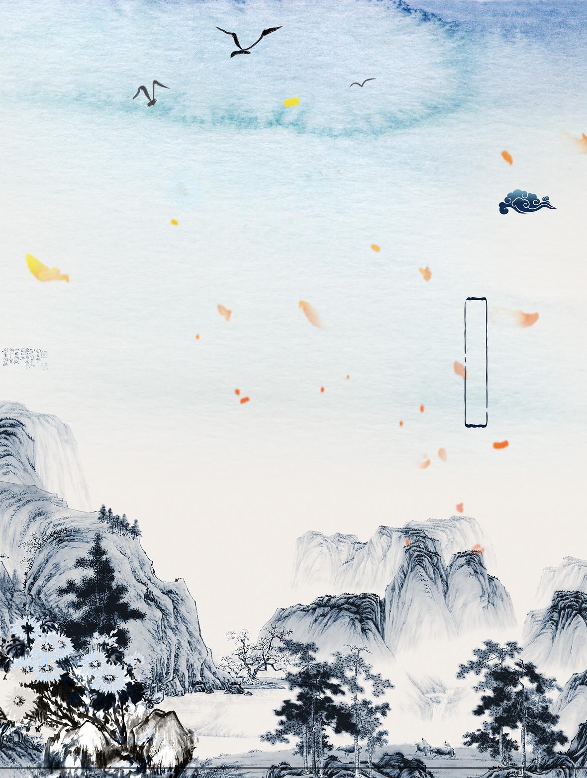 中式淡雅水墨山水传统文化背景素材