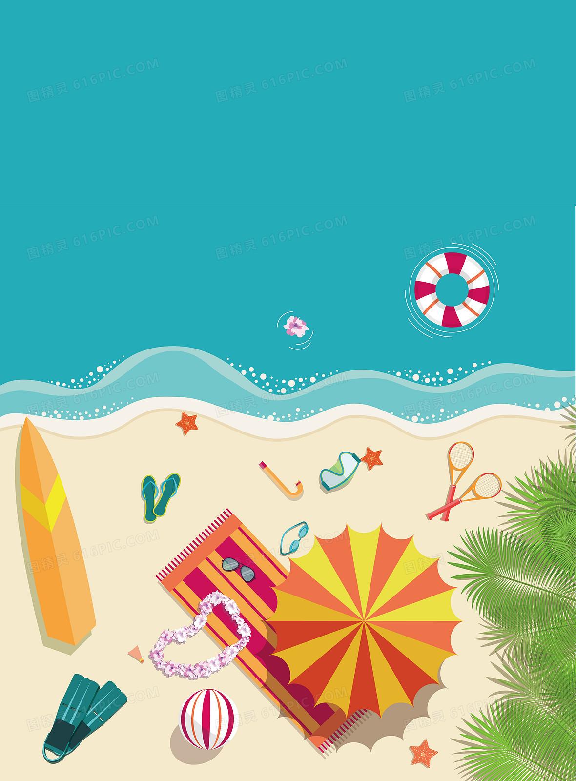 金色沙滩海水帽子海星游泳度假旅游背景素材