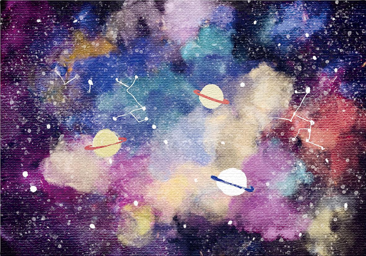 矢量水彩渐变泼墨太空宇宙星空背景