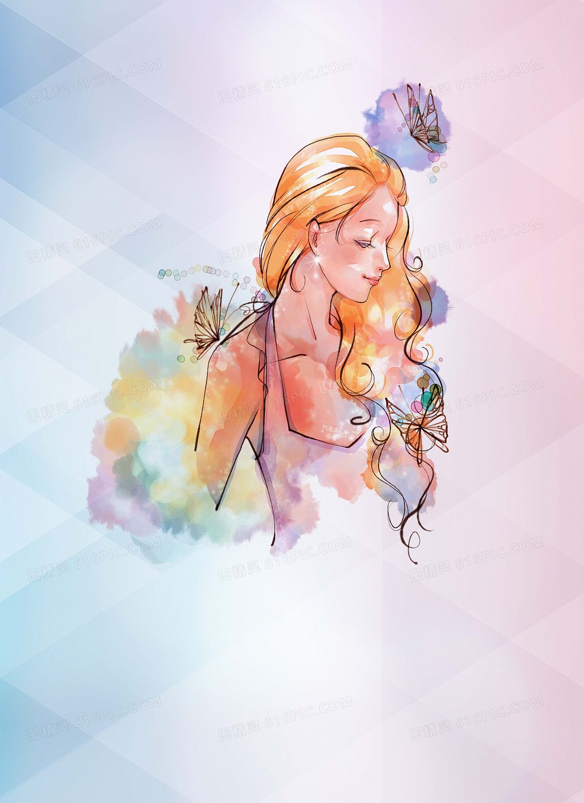 彩色手绘三八女神节海报背景
